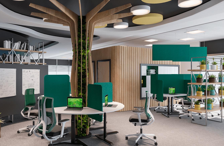 Office with height adjustable desks BulDesk Pro One