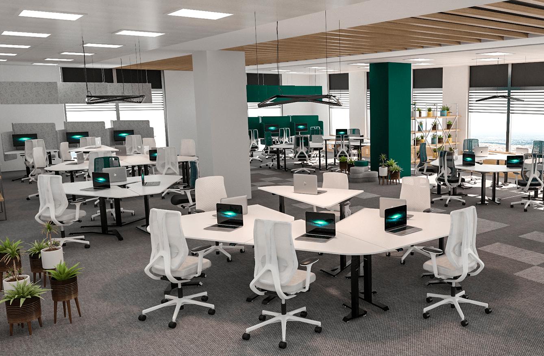 Office with height adjustable standing desks BulDesk Pro