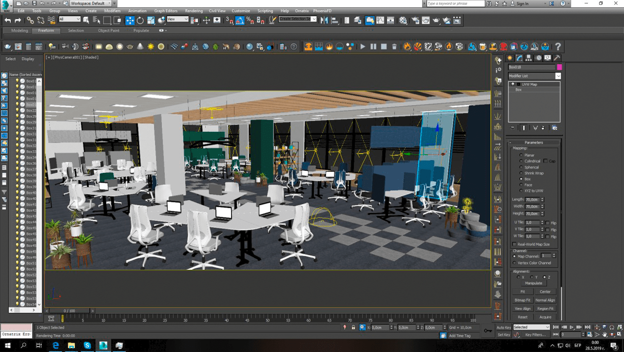 BulDesk 3D visualization of office interior and office furniture