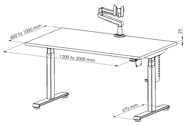 BulDesk Pro Dimensions Drawings
